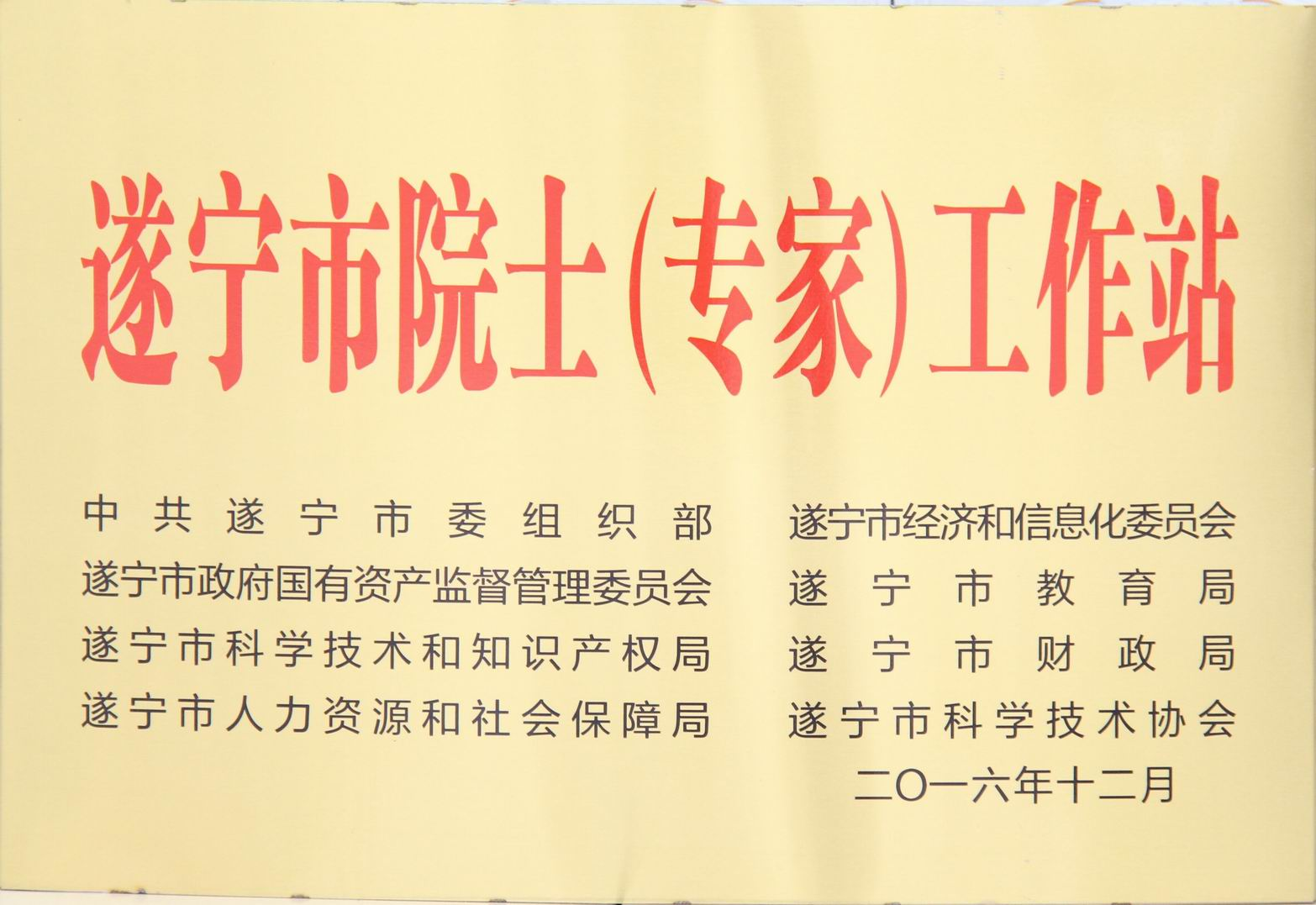 遂宁市院士(专家)工作站